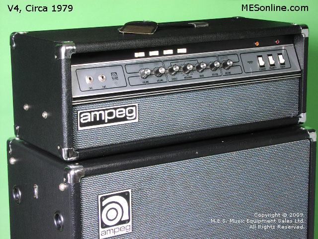 1979 Ampeg V4 amplifier head with 4 x 12 EXV4 speaker cabinet, image 26