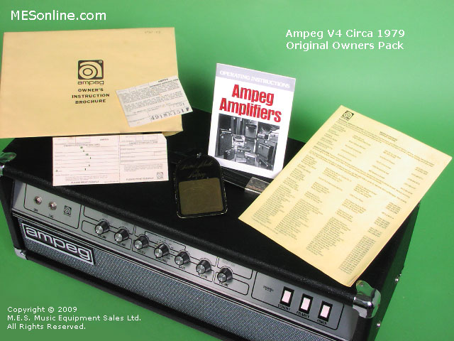 1979 Ampeg V4 amplifier head with 4 x 12 EXV4 speaker cabinet, image 11
