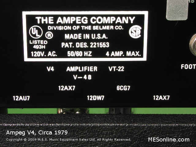1979 Ampeg V4 amplifier head with 4 x 12 EXV4 speaker cabinet, image 12